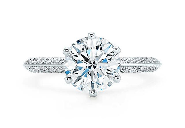 Tiffany & Co. Pavé Tiffany Setting (price upon request)  This ring's pavé band is just stunning.