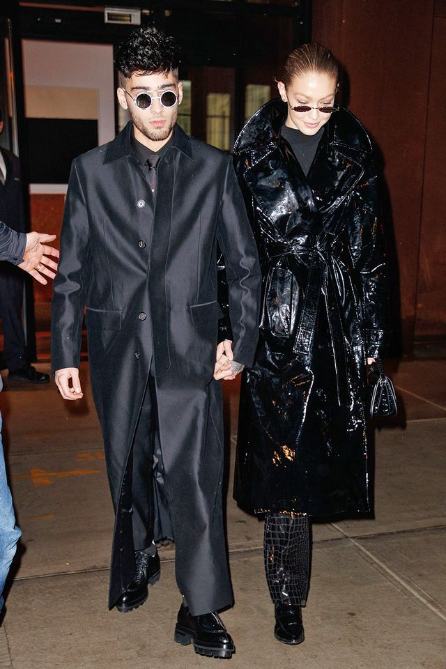 Gigi Hadid and Zayn Malik went for coordinated inky-black looks. In long black trench coats and tiny sunglasses, the duo is pulling some major references from The Matrix and the '90s in general.