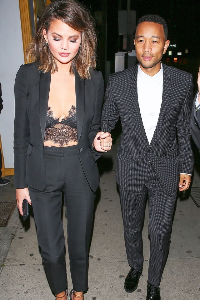 Matching suits on couples is undoubtedly the coolest way to go for any night out. BRB while we try and re-create this exceptional Chrissy and John look for our next date night.