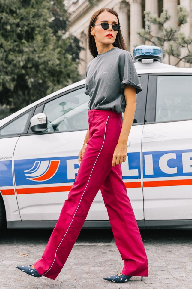 Track pant–inspired trousers and a T-shirt? So chic with heels.