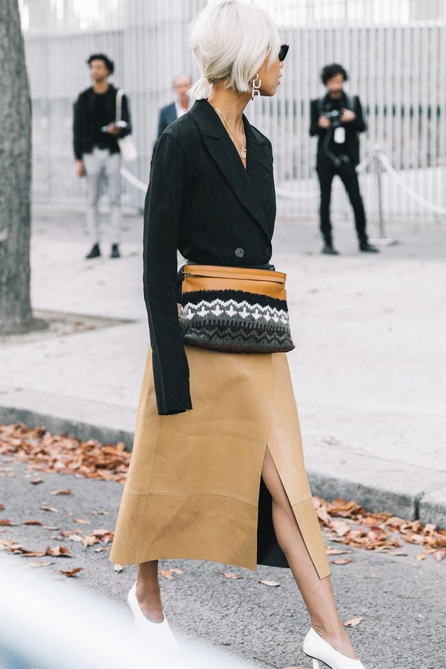 Try a blazer tucked into a skirt, then add some slipper heels.