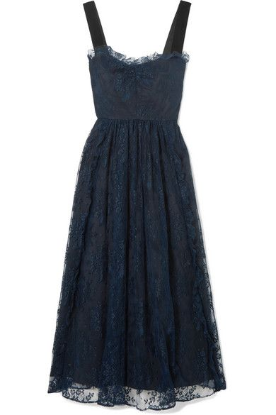 Gathered Velvet-trimmed Chantilly Lace Midi Dress