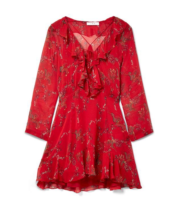 Lucine Ruffled Printed Gauze Mini Dress