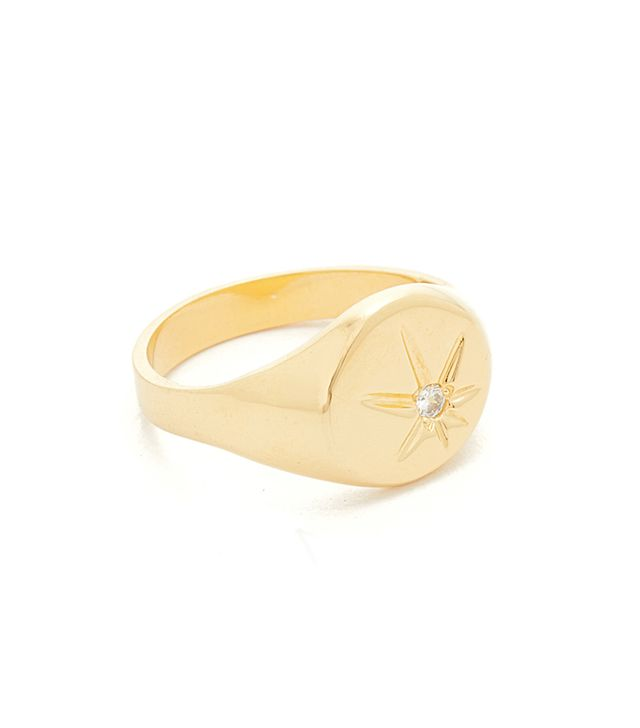 JA Burst Flat Top Signet Pinky Ring