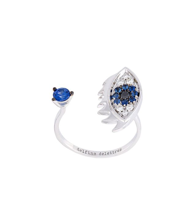 'Eyes on me piercing' diamonds and sapphires ring -