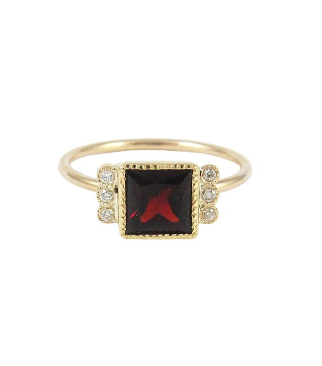 Jennie Kwon Square Garnet Deco Ring