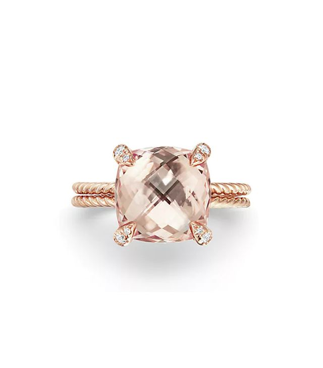 David Yurman Chatelaine® Ring With Morganite And Diamonds In 18K Rose