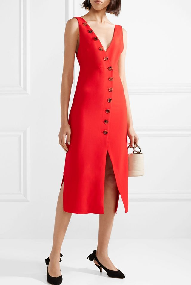 Christy Button-detailed Piqué Midi Dress