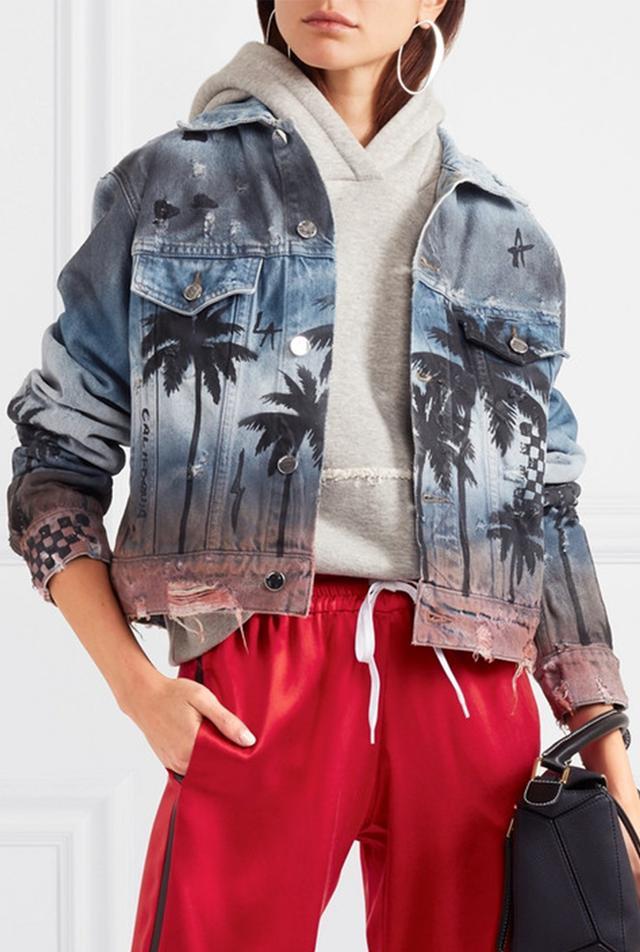 Distressed Printed Denim Jacket