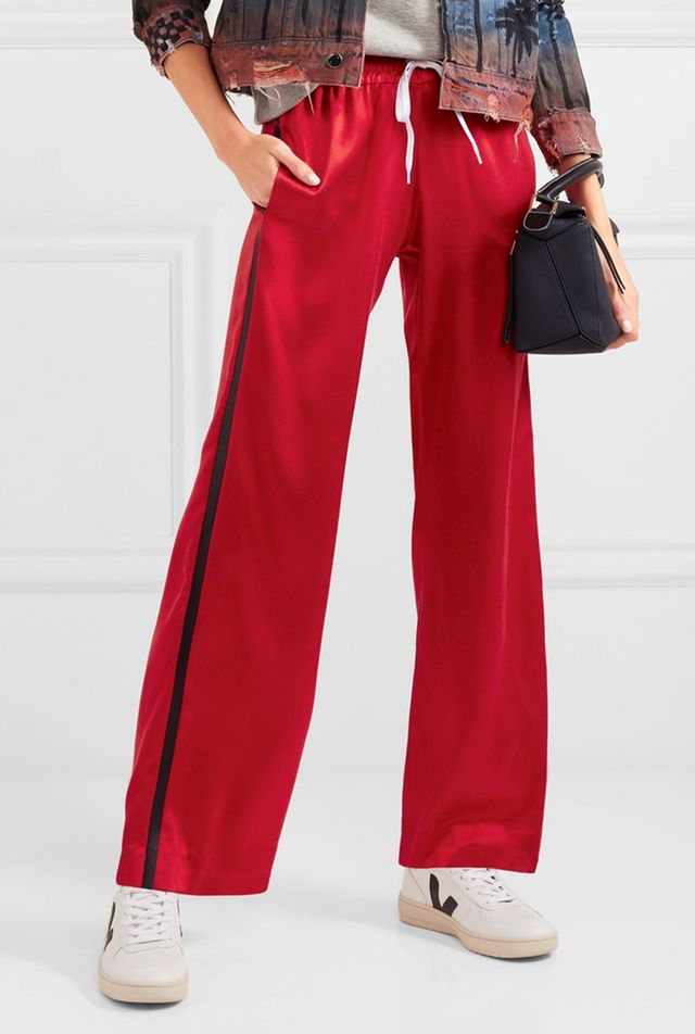 Leather-trimmed Washed-silk Track Pants