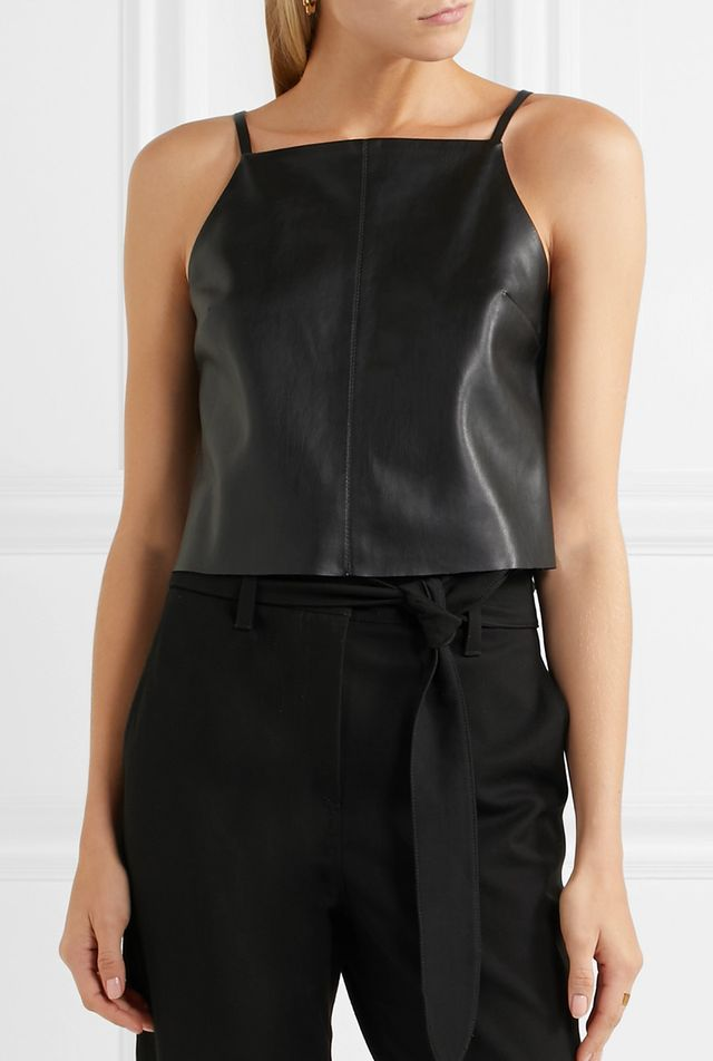 Kate Cropped Faux Leather Top