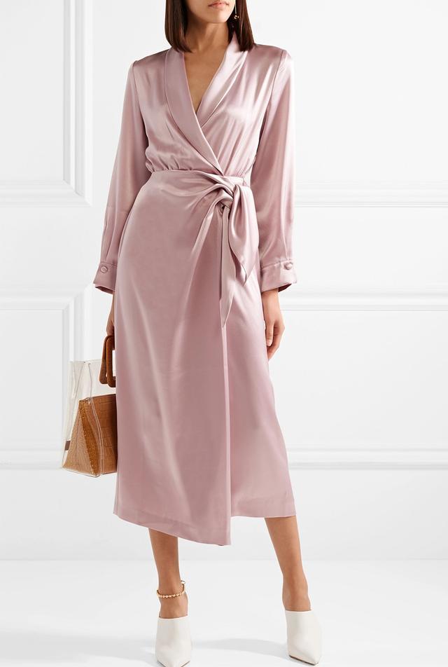 Ezra Satin Wrap Midi Dress