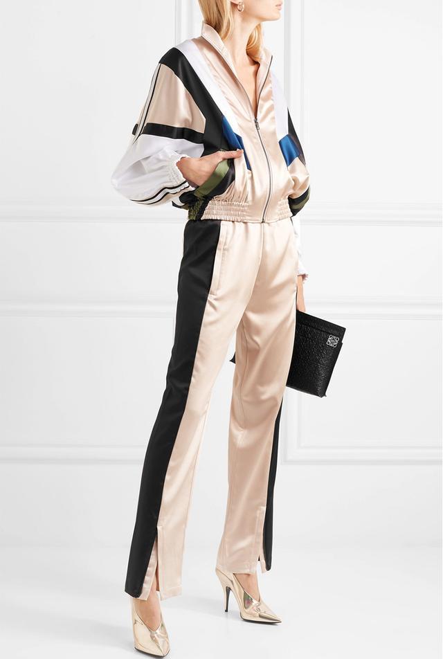 Striped Paneled Satin Track Jacket