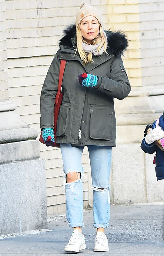 Sienna Miller Wearing Ripped Jeans, Stan Smiths and Parka Coat