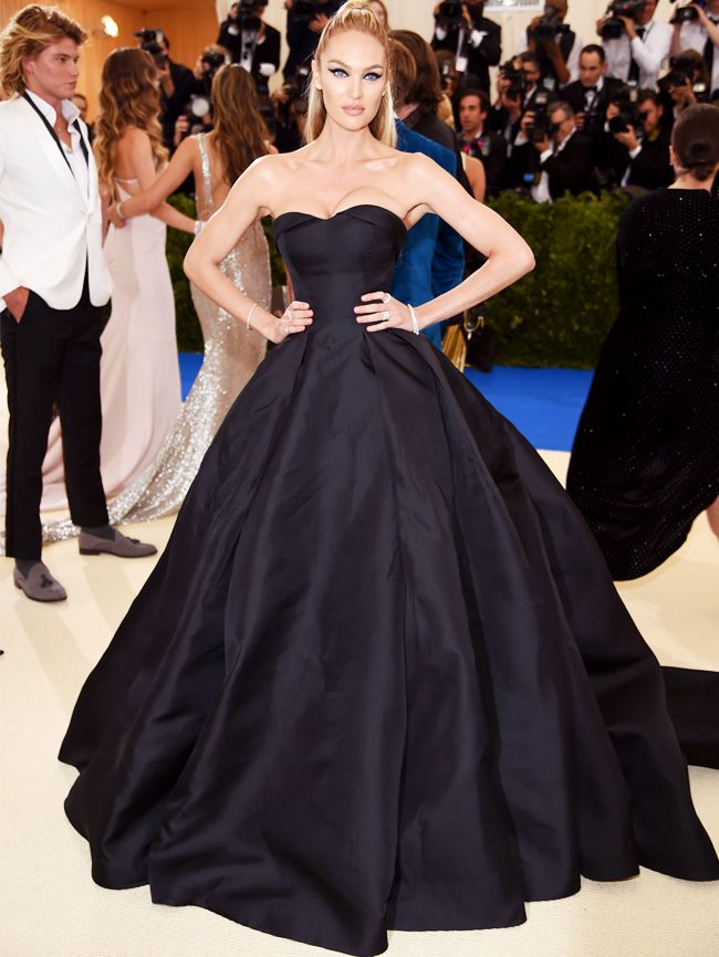 Candice Swanepoel Style: Topshop black full-skirted gown at 2017 Met Gala