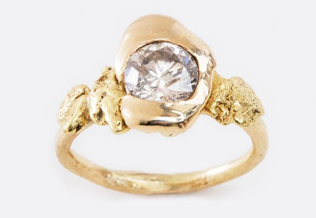 Blair Lauren Brown Round White Diamond Ring with Gold Nuggets