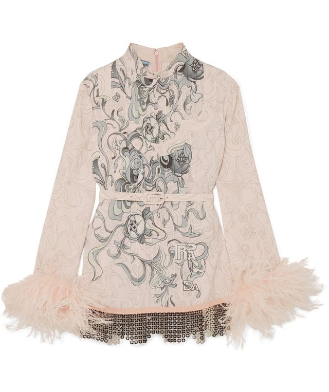 Feather-trimmed Embellished Printed Crepe Blouse
