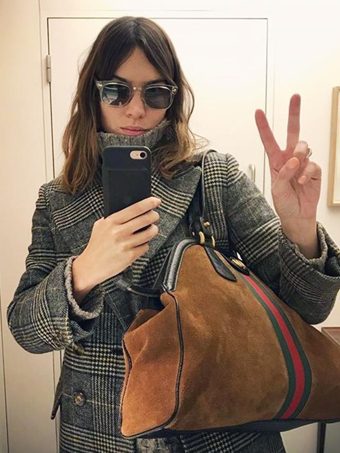 Alexa Chung Checked Coat Trend: Wearing AlexaChung Coat and Gucci Bag
