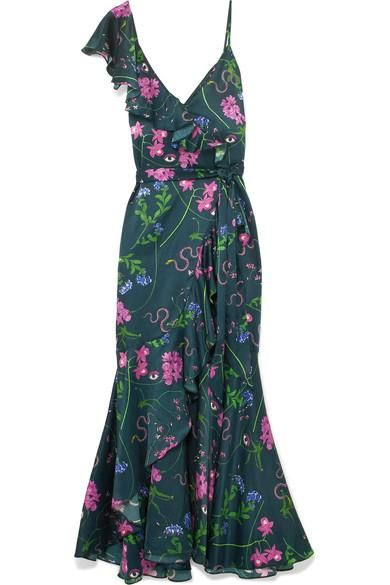 Isadora Printed Cotton And Silk-blend Satin Maxi Dress