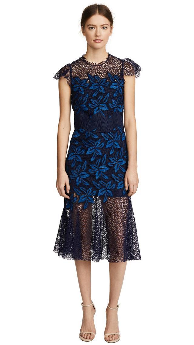 Mosaic Lace Midi Dress