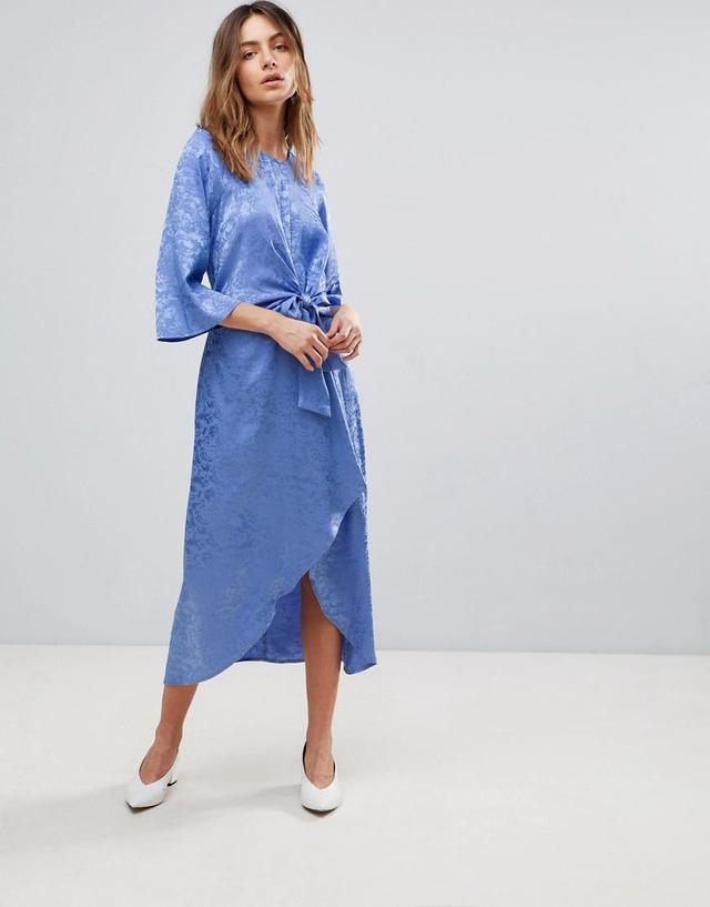 Satin Midi Dress With Kimono Sleeve
