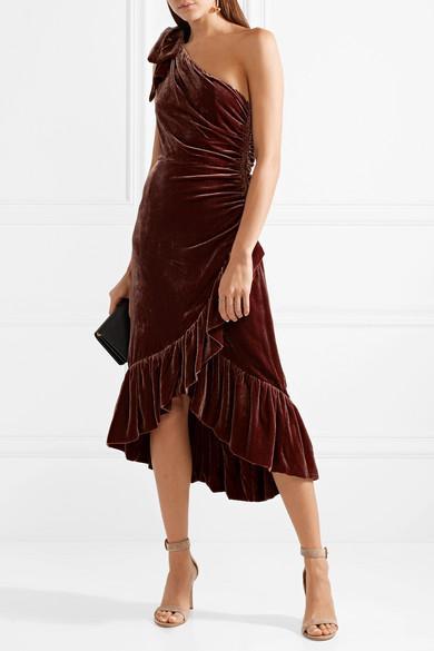 Elisa One-shoulder Ruffled Velvet Dress