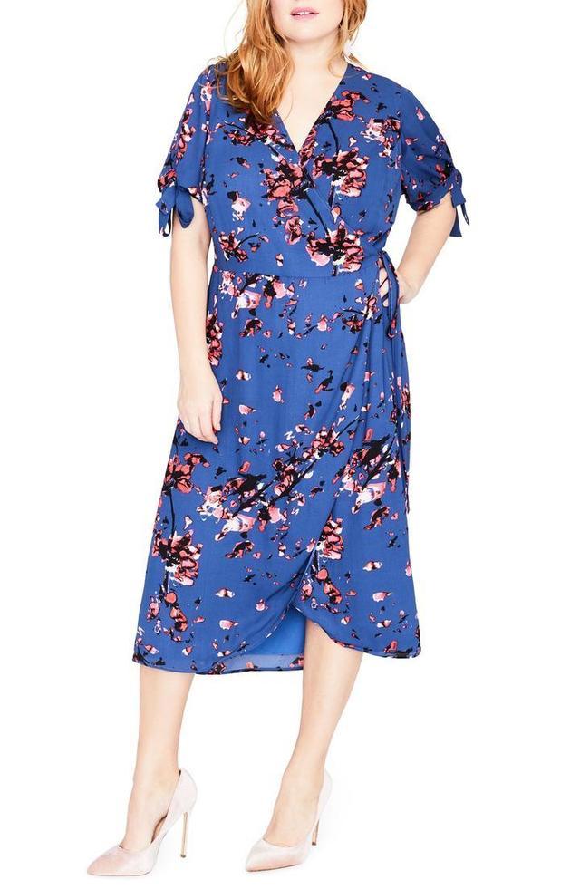 Plus Size Women's Rachel Rachel Roy Floral Print Wrap Midi Dress