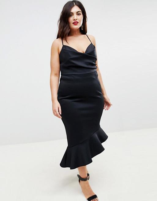 ASOS CURVE Scuba Cami Pephem Midi Dress