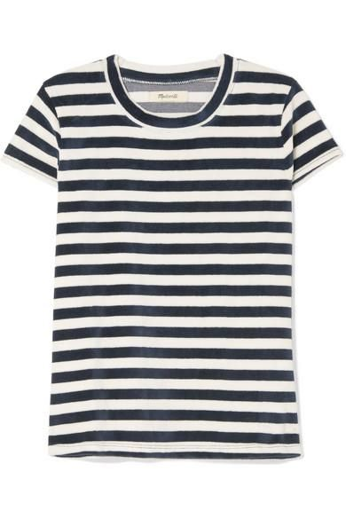 Basil Striped Cotton-blend Velour T-shirt