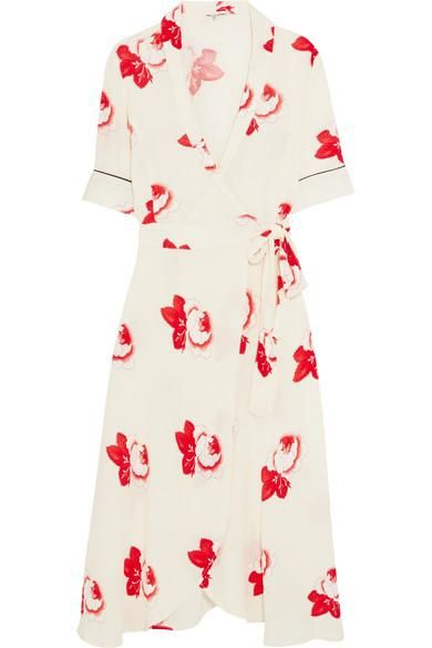 Floral-print Crepe Wrap Dress