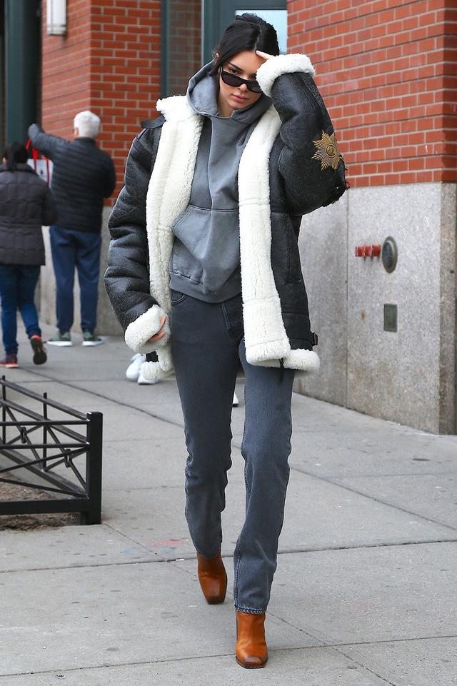 On Kendall Jenner: Vera Wang Oversized Jacket ($3999); Saint Laurent Jodie Boots ($657)