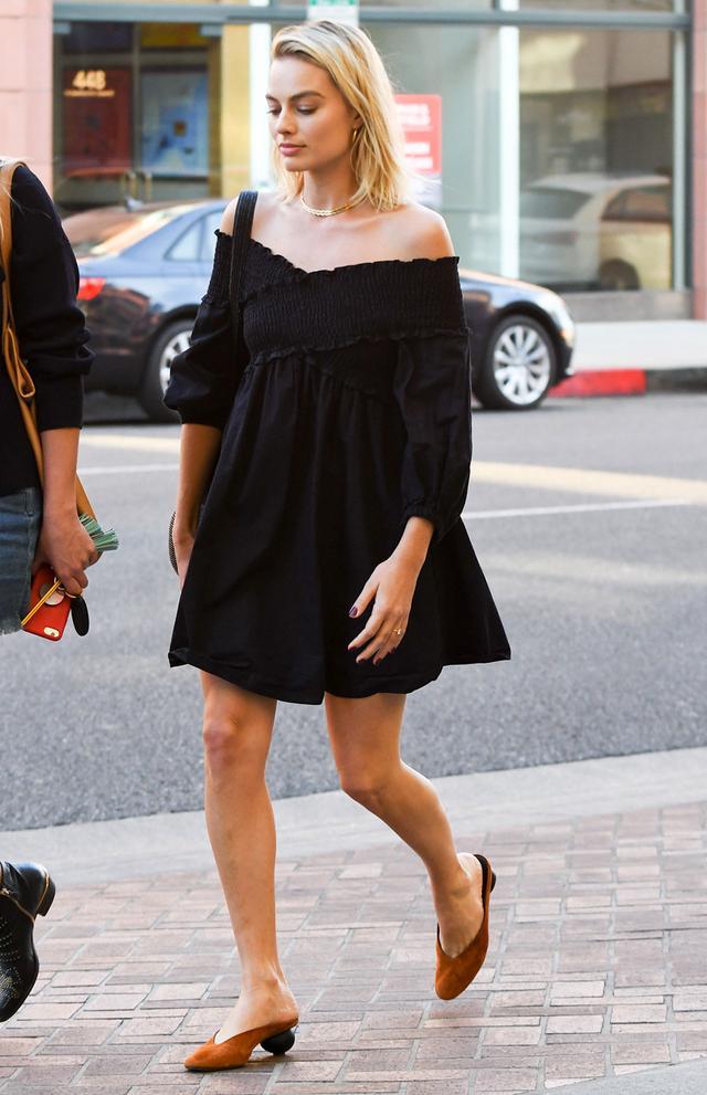 On Margot Robbie: Zara dress; Gray Matters Mildred Mules ($525)