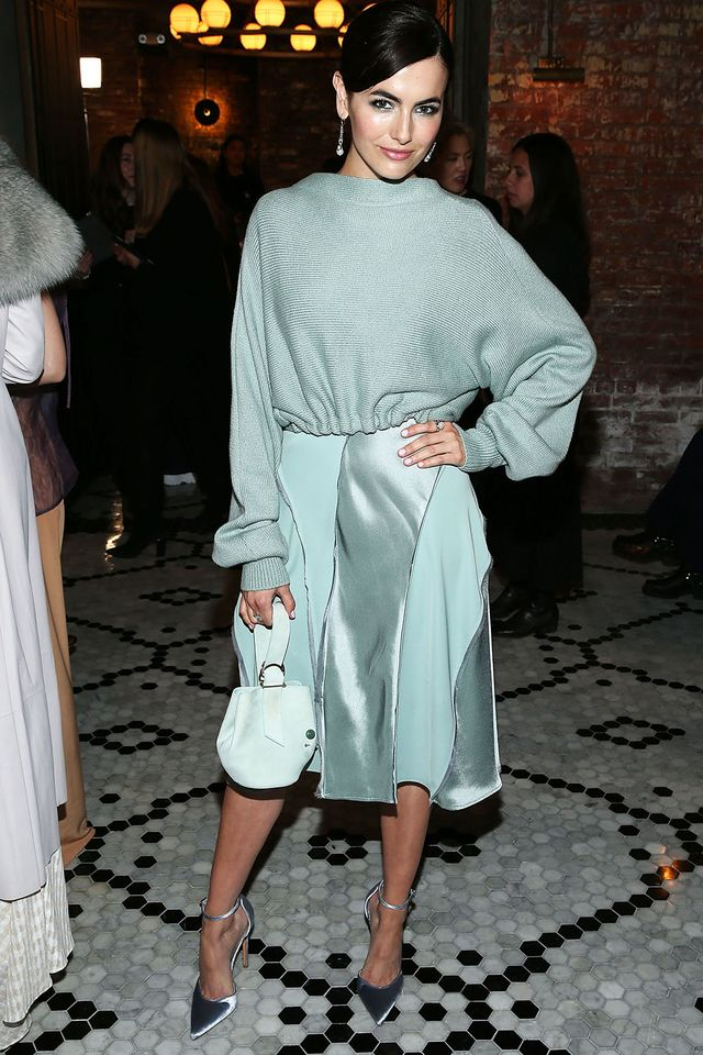 WHO: Camilla Belle WHAT: Adream F/W 18 WEAR: Adeam sweater and dress; John Hardy earrings