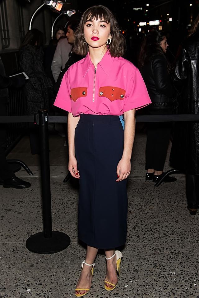 WHO: Rowan Blanchard WHAT: Calvin Klein F/W18 Show. WEAR:Alison Lou earrings.