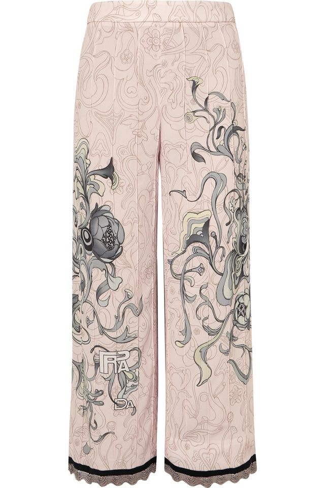 Cropped Chain-trimmed Printed Crepe Straight-leg Pants