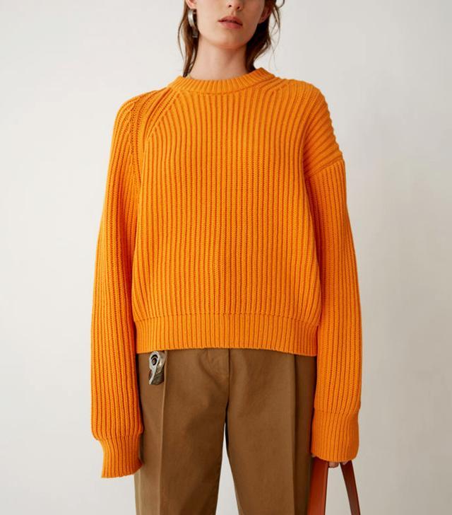 Acne Penina Chunky Bright Orange Sweater