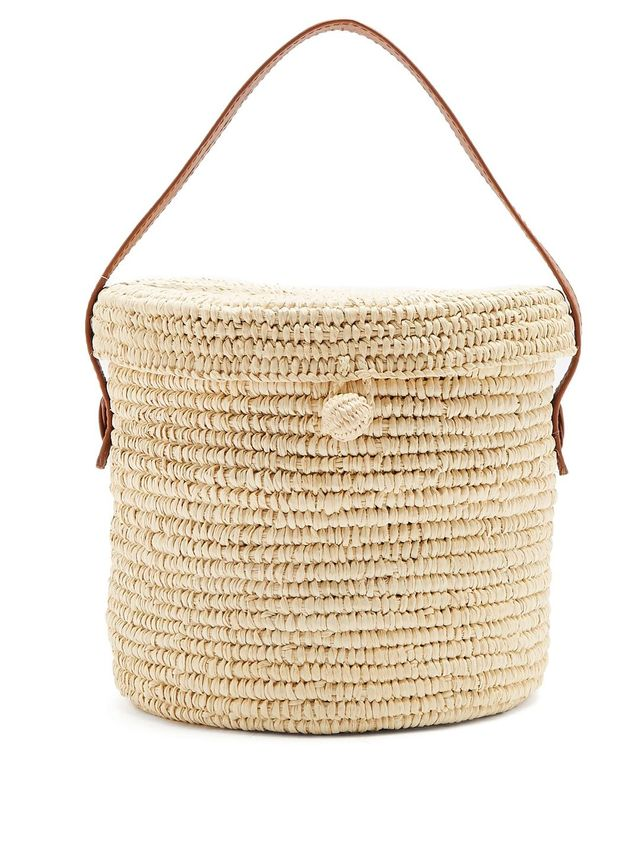 Leather-trimmed toquilla-straw basket bag