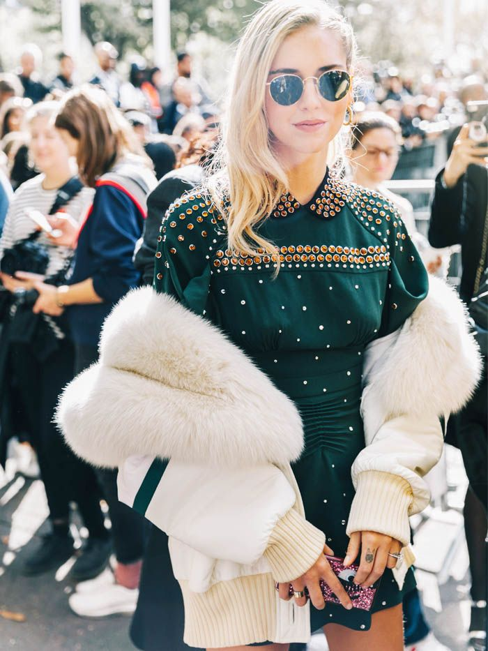 Crystal Fashion Trend: Chiara Ferragni wearing a crystal jumper