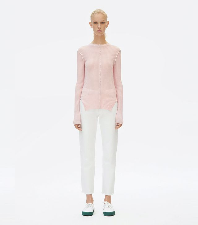 Céline Crew Neck Sweater in Ribbed Lightweight Cotton