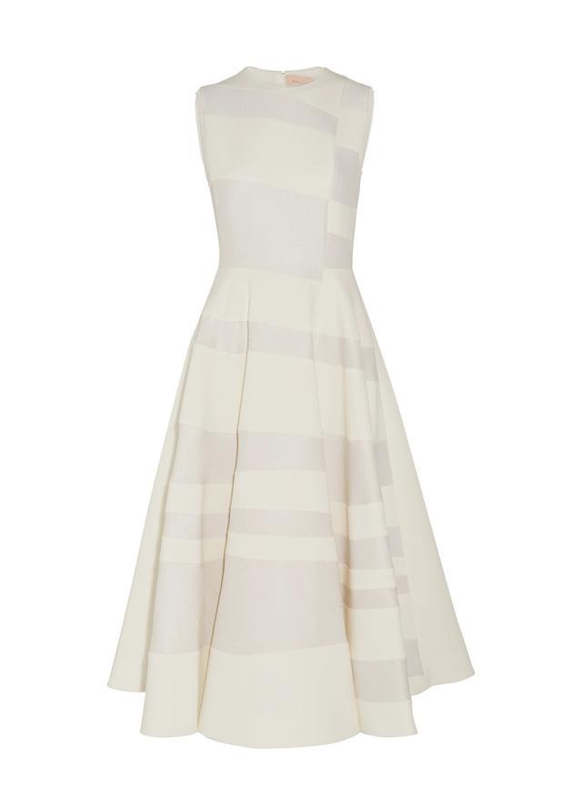 Tatum Paneled Cady And Hammered-crepe Midi Dress