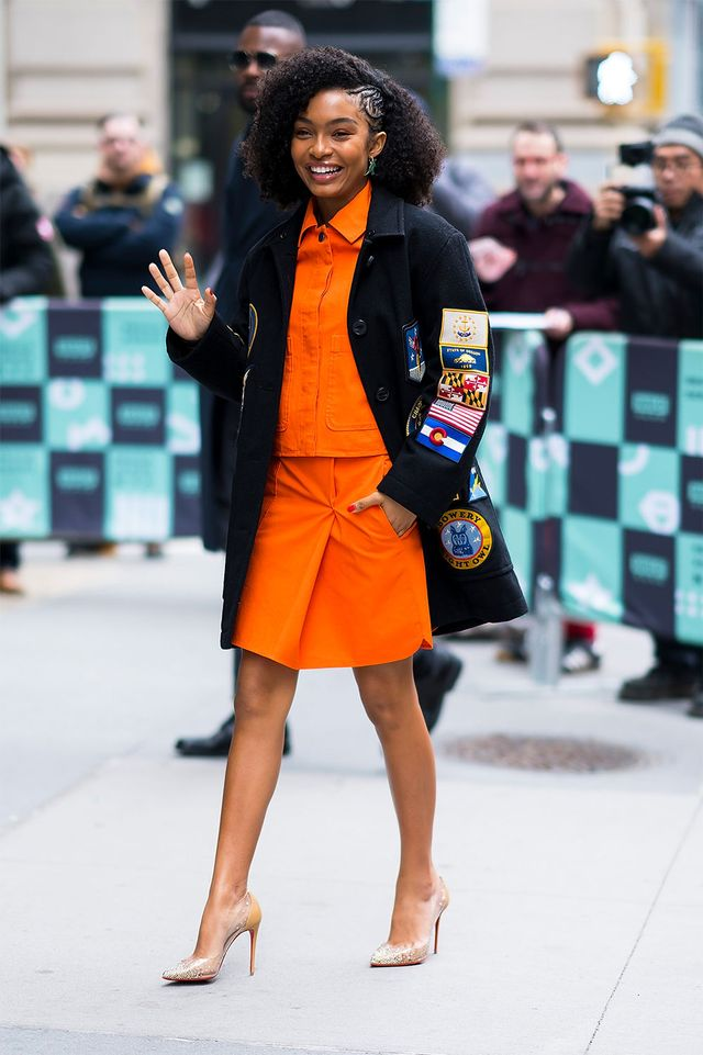 On Yara Shahidi: Coach coat (sold out); COS jacket and skirt (sold out); Christian Louboutin Degrasstrass Clear Embellished Pump ($1095); APM Monaco Rexy in Wonderland earrings...