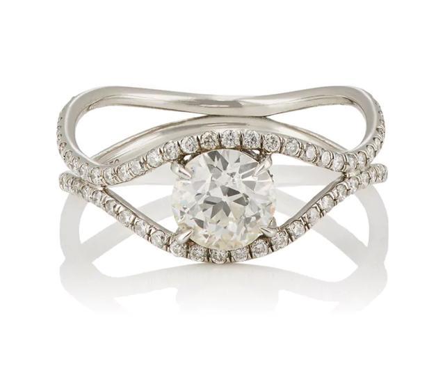 Women's European-Cut White Diamond Ring