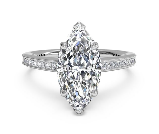 Ritani Micropavé Diamond Band Engagement Ring with Milgrain Finish