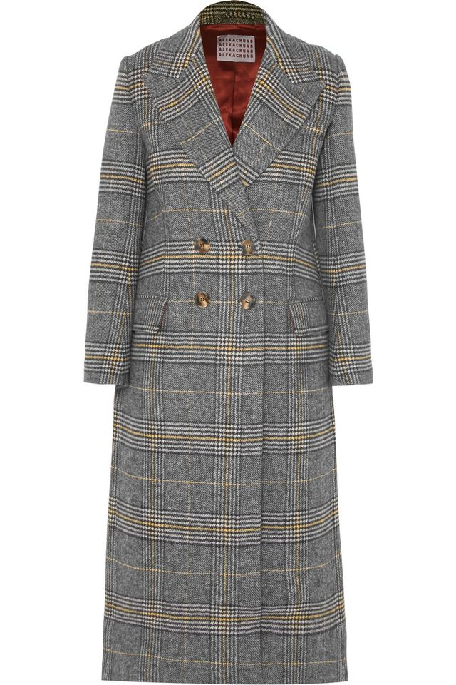 ALEXACHUNG Checked Tweed Coat