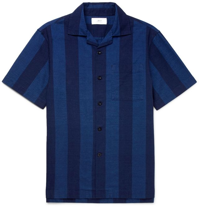 Mr P. Camp-Collar Striped Cotton Shirt