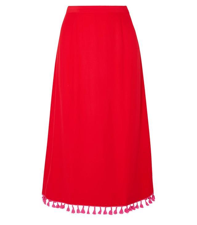 Johnny Tasseled Crepe Midi Skirt