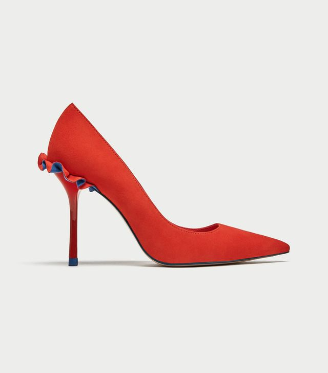 Zara Leather High Heel Court Shoes With Ruffle Trims