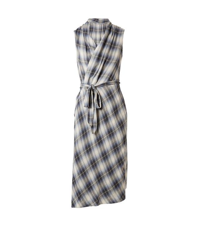 Plaid Cotton-blend Wrap Midi Dress