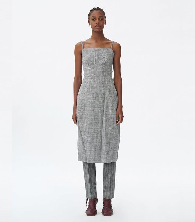 Céline Strap Dress in Light Wool Tweed