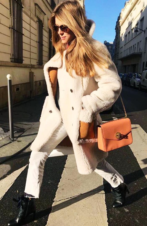 Gap shearling coat: Monica Ainley